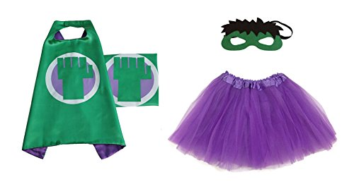 Rush Dance Kids Children's Deluxe Comics Super Hero CAPE & MASK & TUTU Costume (Hulk (Purple Tutu))