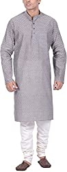 Kisah Men's Handloom Cotton Jacquard Kurta (KA-S-015K-40_Grey_40)
