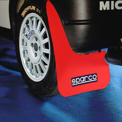 RED SPARCO UNIVERSAL FITTING/CUT TO SIZE RALLY STYLE CAR EXTERIOR MUDFLAPS/MUD FLAPS