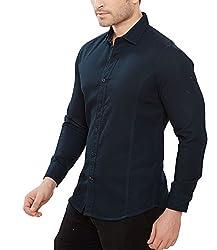 Davos Men's Cotton Casual Shirt(DS-04-Navyblue_Large)