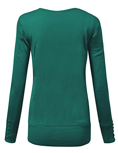 MBJ WSK780 Womens Keep It Classic V Neck Cardigan M GREEN