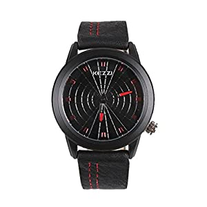 Kezzi Men's Watches K1135 Sport Casual Quartz Analog Black Dial Leather Wrist Watch