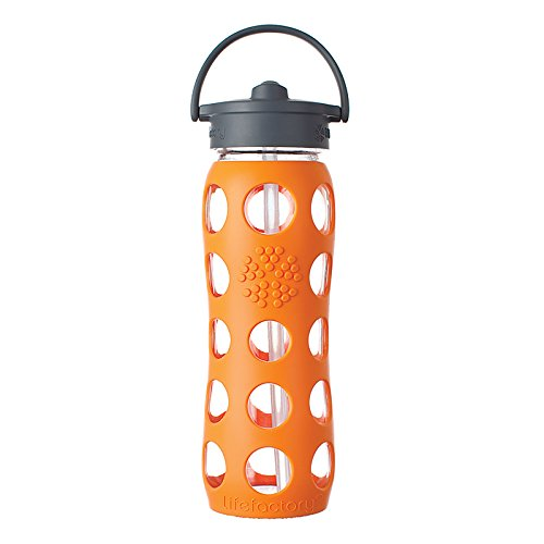 Lifefactory 22-Ounce Glass Bottle with Straw Cap and Silicone Sleeve, Orange