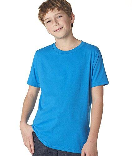Next Level Boys Boys' Short-Sleeve Fine Jersey Crew 3310-Turquoise-Medium front-813514