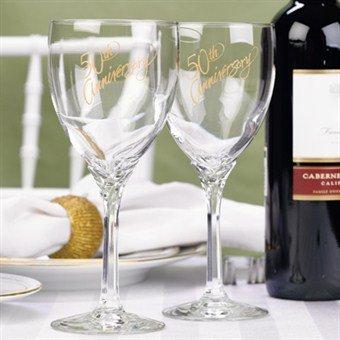 Hortense B. Hewitt Wedding Accessories 50th Anniversary Wine Glasses, Set of 2