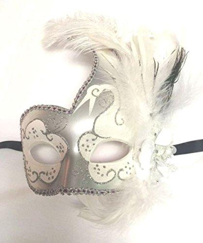 [Mememall White Silver Swan Fancy Mask Glitter Feather Lady Mardi Gras Costume] (Mardi Gras Costumes Vest)