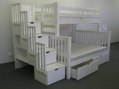 Bedz King Twin Over Full Stairway Bunk Bed With 2 Under Bed Drawers, White