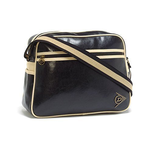 Dunlop Vintage Design Shoulder Bag for Men - Distressed Black / Ecru. Lined with dunlop branding