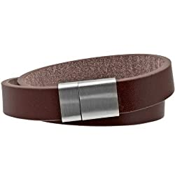 Inox Jewelry Men's 316L Stainless Steel Brown Leather Bracelet
