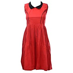 Xniva Cotton Red Black Party Wear Dress For Women_M