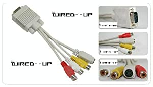 Wired-Up VGA TO TV RCA S-VIDEO ADAPTER CONVERTER Cable PC LAPTOP - Wired--up