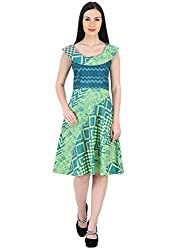 Woodin Round Neck Graphic Print Knee Length Dress for Women