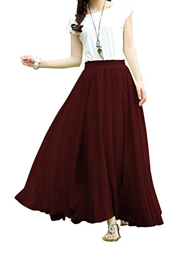 V28®Women Full/ankle Length Elastic Pleated Retro Maxi Chiffon Long Skirt (S, Wine)