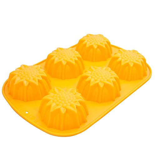 Marathon Housewares KW200024 Premium Silicone 6 Cup Sunflower Cupcake/Soap Mold Pan, Yellow