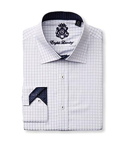 English Laundry Men's Grided Check Dress Shirt