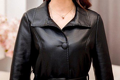 Helan Women's Long Simple PU Leather Coat With Belt Inside Fur Black US 6