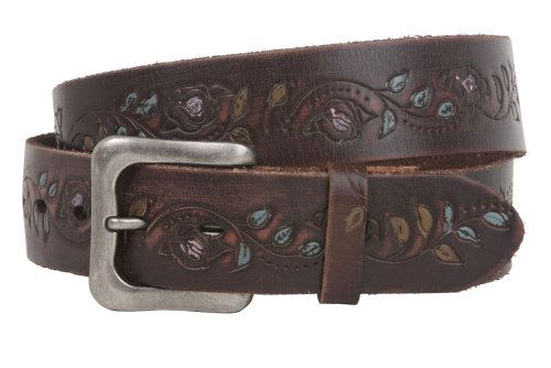 Snap On Soft Hand Floral Engraving Vintage Full Grain Leather Belt Size: 30 Color: Brown