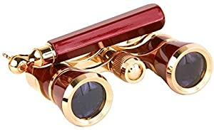LaScala Optics IOLANTA Lorgnette Opera Glasses - Burgundy body, Golden LSI3x25-LSI-03