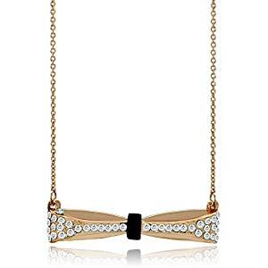 Pugster 18k Golden Pave Cz Cubic Zirconia Ribbon Bow Black White Crystal Pendant Necklace 18