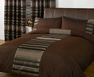 STRIPED DUVET COVER Chenille Luxury Bedding Quilt Cover Bed Set Brown King Size Duvet Cover ( kingsize )