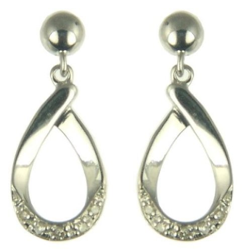 Ladies' Diamond Loop Drop Earrings, 9ct White Gold, Model Z-ER981DI