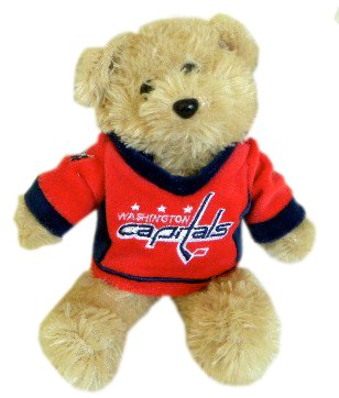 NHL Washington Capitals Road Fuzzy Jersey Bear, 8-Inch, Red - 1