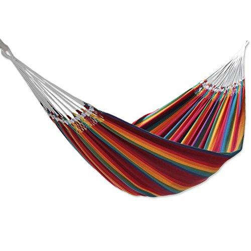 Cotton hammock, 'Brazilian Rainbow' (double)