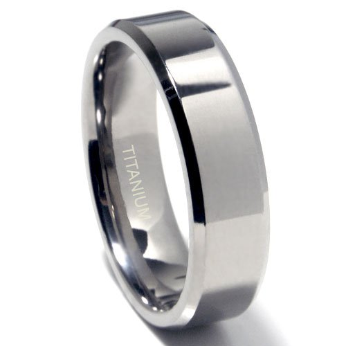 Titanium 7mm Beveled Edge Wedding Band Ring Sz 7.5 SN#797