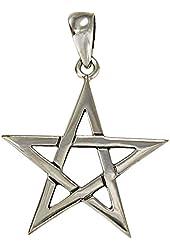 Silver Pentagram Pendant Pagan Wiccan Star Jewelry for men women