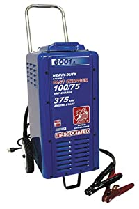 Associated Equipment 6001A 6/12V 100/75 Amp Continuous Charge 375 Amp Cranking Assist Charger with Wheels