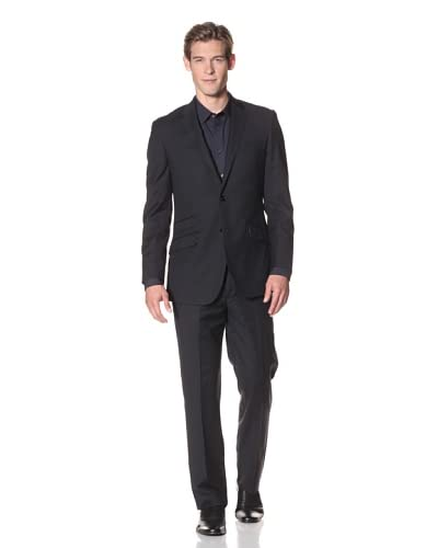 English Laundry Men's 2-Button Pinstripe Suit  [Black]