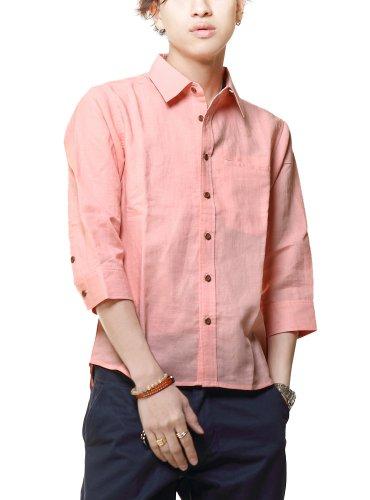 シャツ メンズ 麻素材 半袖 カジュアル 綿麻 7分袖 ボタンダウン シャツ 605171