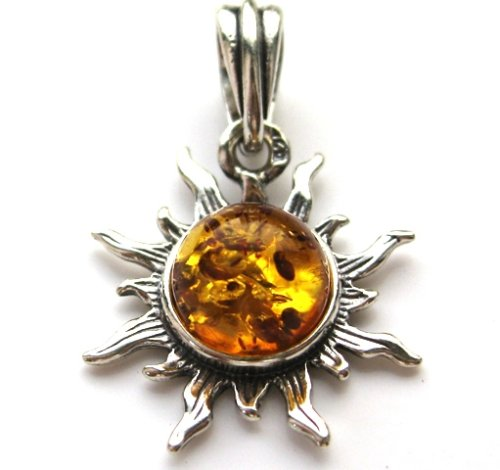Certified Genuine Baltic Amber and 925. Silver Small Flaming Sun Pendant