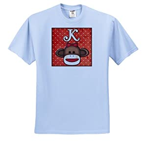 Dooni Designs Monogram Initial Designs - Cute Sock Monkey Girl Initial Letter K - T-Shirts - Adult Light-Blue-T-Shirt Small