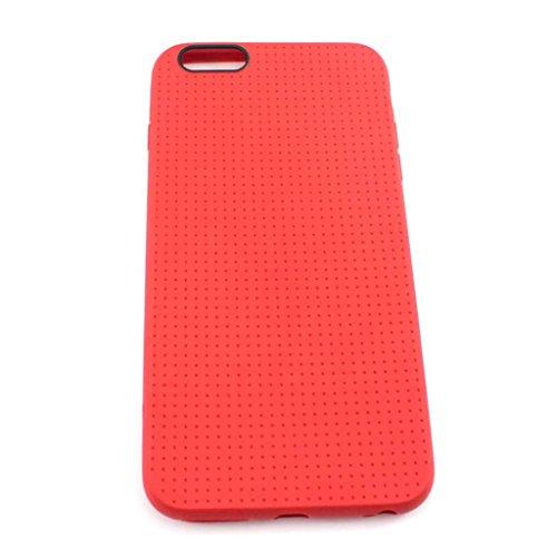 華揚 iPhone6プラス用 スタイリッシュな ピンホール穴 柔らかいシリコン フォンカバーケース(レッド)