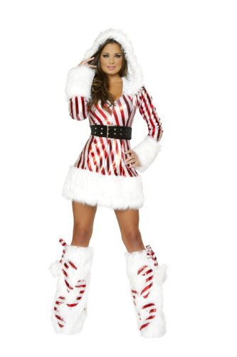 J. Valentine Women's Candy Cane Hooded Dress