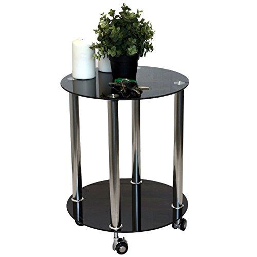 Beistelltisch-rollbar-2-Ebenen-Glasplatte-schwarz-undurchsichtig-40xH50cm-Design-Glastisch-Couchtisch-Glas-Edelstahl-schwarz