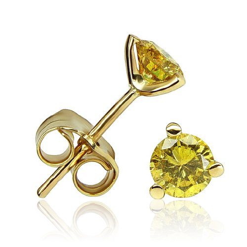 0.50 Ct Natural Fancy Yellow Vivid SI Round Diamond Stud Earrings 14k Solid Gold image