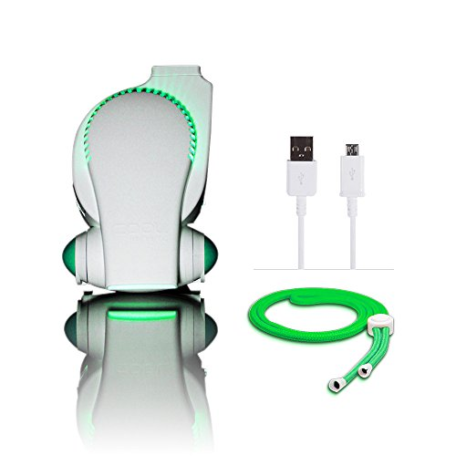 Cool on the Go Portable Baby Stroller Fan with LED Lights Cool on the Go Clip On Fan Versatile Hands free Personal Cooling Device / Compact USB Fan Bladeless Desk Fan White/ Green