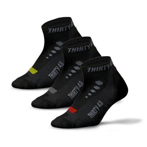 Low Cut Socks, Cycling Series by Thirty48, Unisex  Black and Gray; Running, Spin Bike Class, Hiking, Gym Training