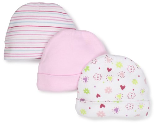 SpaSilk Baby-Girls Newborn 3 Pack Colorful Print Hat, Pink, Preemie