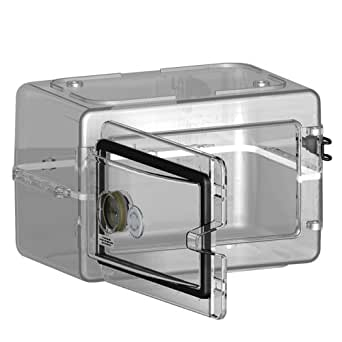 "Bel-Art Scienceware 420751000 Secador Polystyrene Mini Desiccator Cabinet, Clear, 13.3"" Width x 8.5"" Height x 10"" Depth"