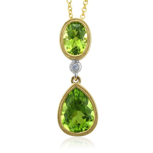 Certified 14k Yellow Gold Natural Diamond Peridot Necklace Pendant - 2.45 cttw