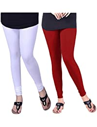 BONITO Women's Cotton Churidar Leggings Combo (Pack Of 2 Red & White) - Free Size