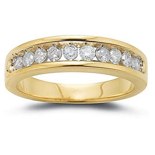 10k Choice of White or Yellow Gold Round Diamond Channel Set Band