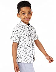 Autograph Pure Cotton Bird Print Shirt