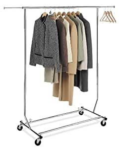 Collapsible/Folding Rolling Clothing/ Garment Rack Salesman's Rack