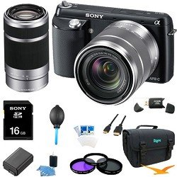 Sony NEX-F3K/B NEX-F3KB NEXF3KB NEXF3K NEX-F3K 16.1 MP Compact System Camera with 18-55mm Lens (Black) ULTIMATE Bundle with Sony E 55-210mm F4.5-6.3 Lens for Sony NEX Cameras, 16GB High Speed Card, Deluxe Filter Kit, Spare Battery, Padded Case+ More