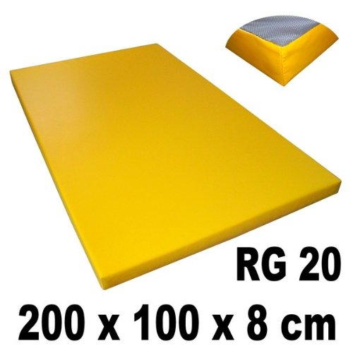 Gym mat 200 x 100 x 8 cm with anti-slip base density 20 (very soft), Farbe:gelb