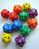 20-sided polyhedra dice (pack of 12)